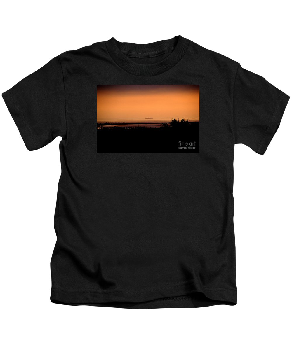 Barge Kids T-Shirt featuring the photograph Pacific Barge - 1 by Linda Shafer