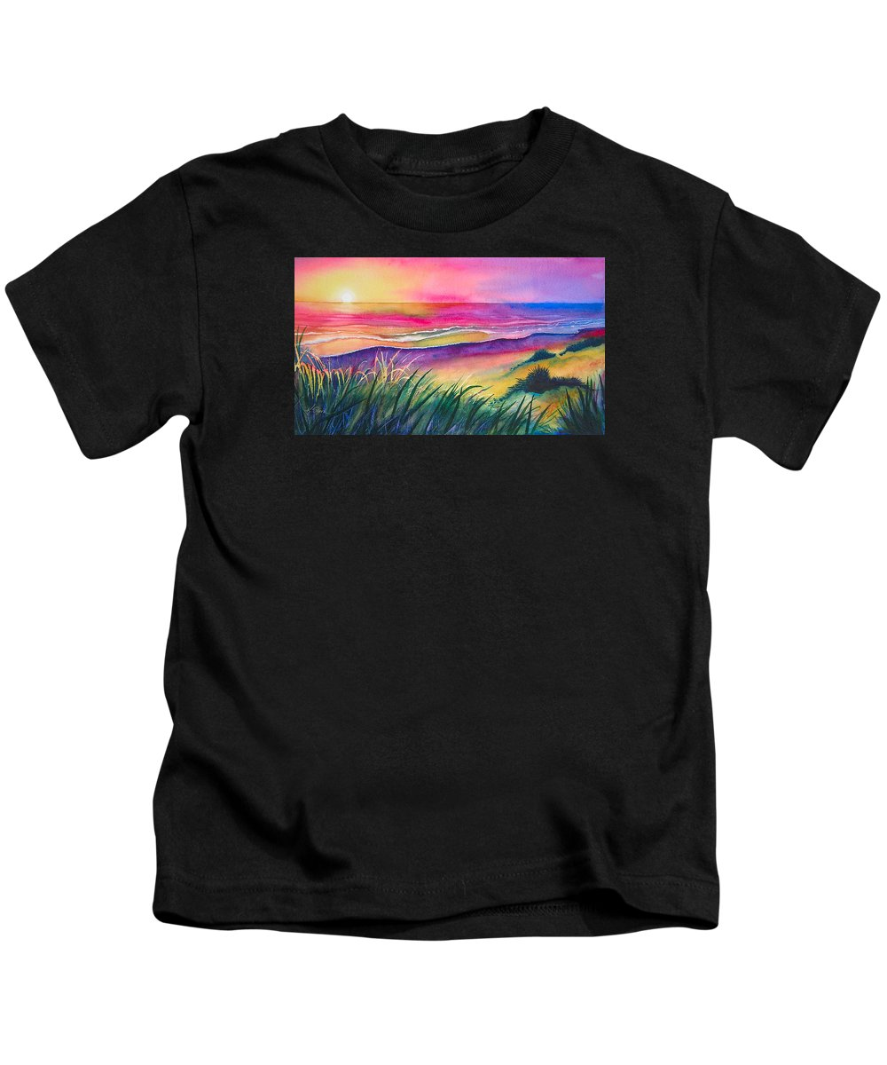 Pacific Kids T-Shirt featuring the painting Pacific Evening by Karen Stark