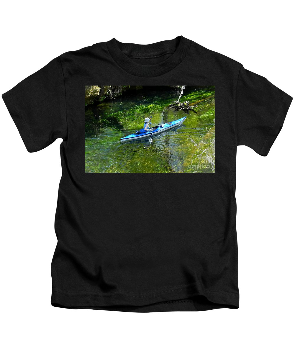 Ichetucknee Springs Kids T-Shirt featuring the photograph Paddling The Ichetucknee by David Lee Thompson