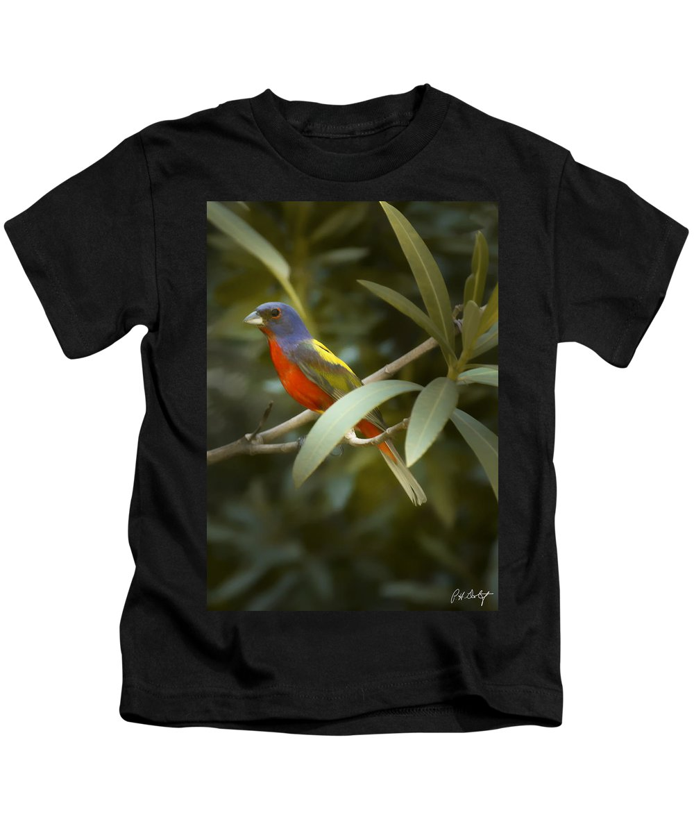 Painted Bunting Kids T-Shirt featuring the photograph Painted Bunting Male by Phill Doherty