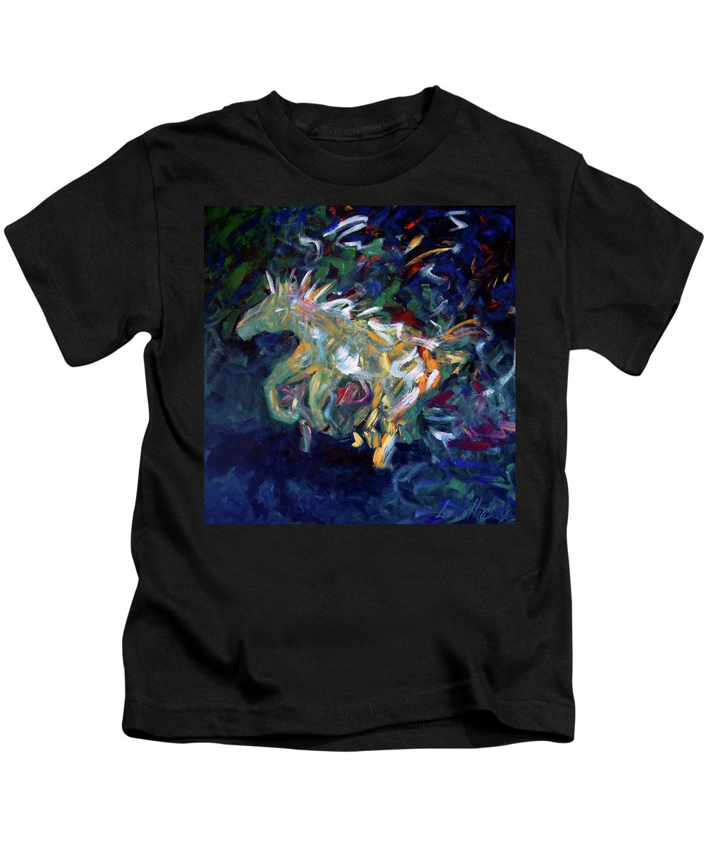 Abstract Horse Kids T-Shirt featuring the painting Painted Pony by Lance Headlee