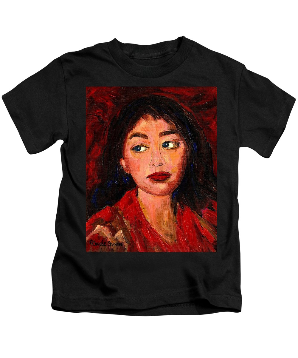 Dark Haired Girl Kids T-Shirt featuring the painting Painting Of A Dark Haired Girl Commissioned Art by Carole Spandau