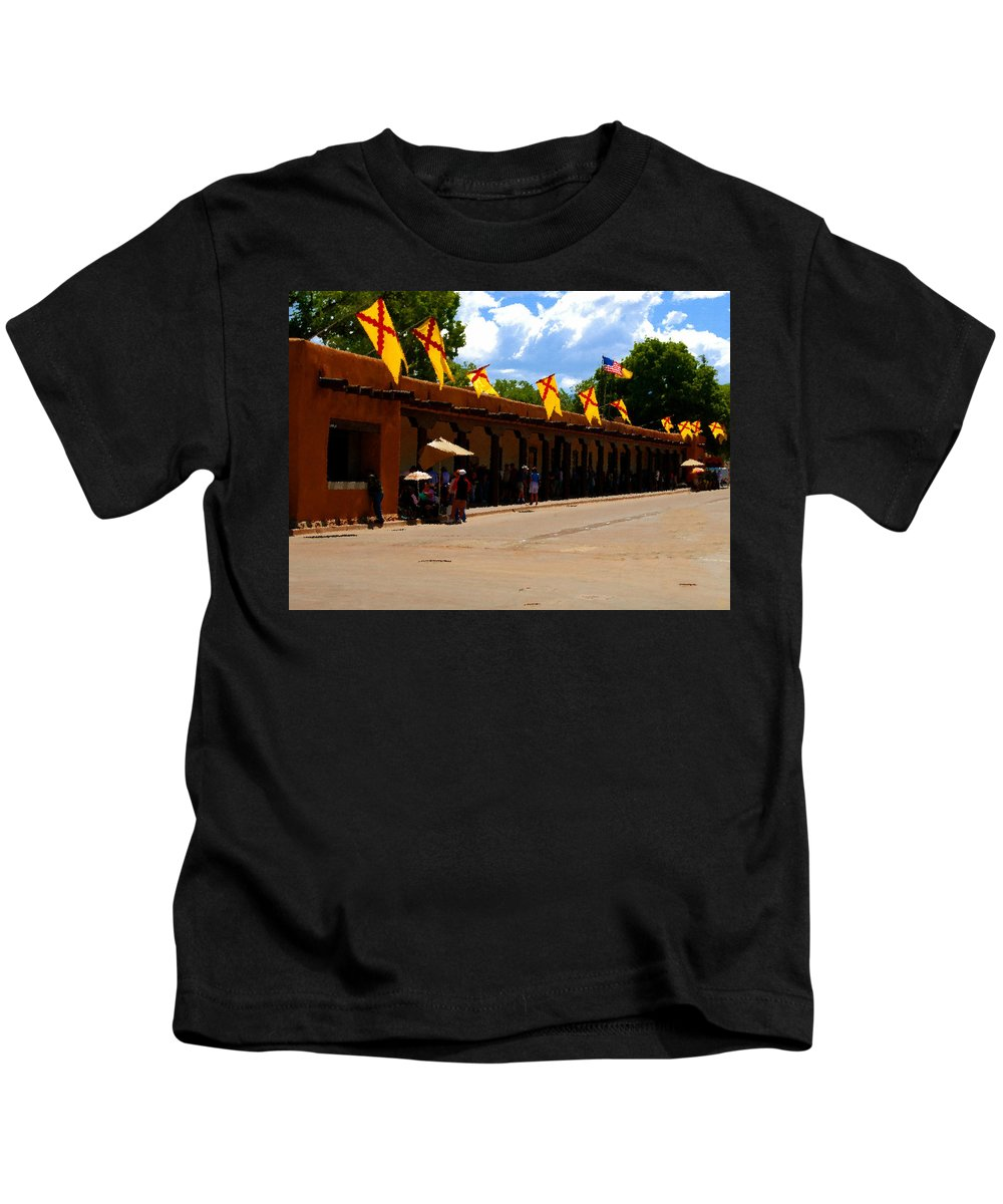 Palace Of The Governors Kids T-Shirt featuring the painting Palace Of The Governors by David Lee Thompson