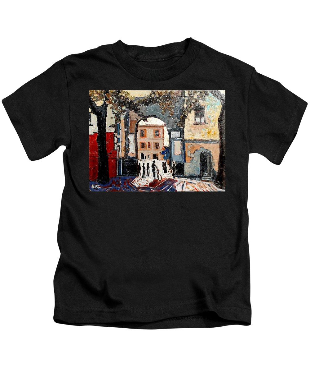 Tuscany Kids T-Shirt featuring the painting Palazzo Vecchio by Kurt Hausmann