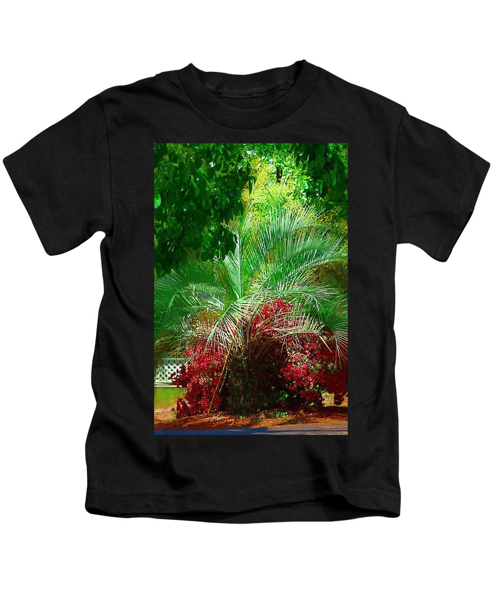 Palms Kids T-Shirt featuring the photograph Palm And Azaleas by Donna Bentley