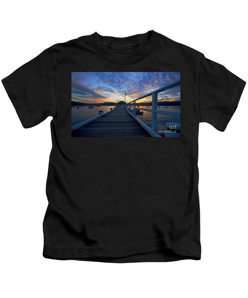 Palm Beach Sydney Wharf Sunset Dusk Water Pittwater Kids T-Shirt featuring the photograph Palm Beach Wharf At Dusk by Sheila Smart Fine Art Photography