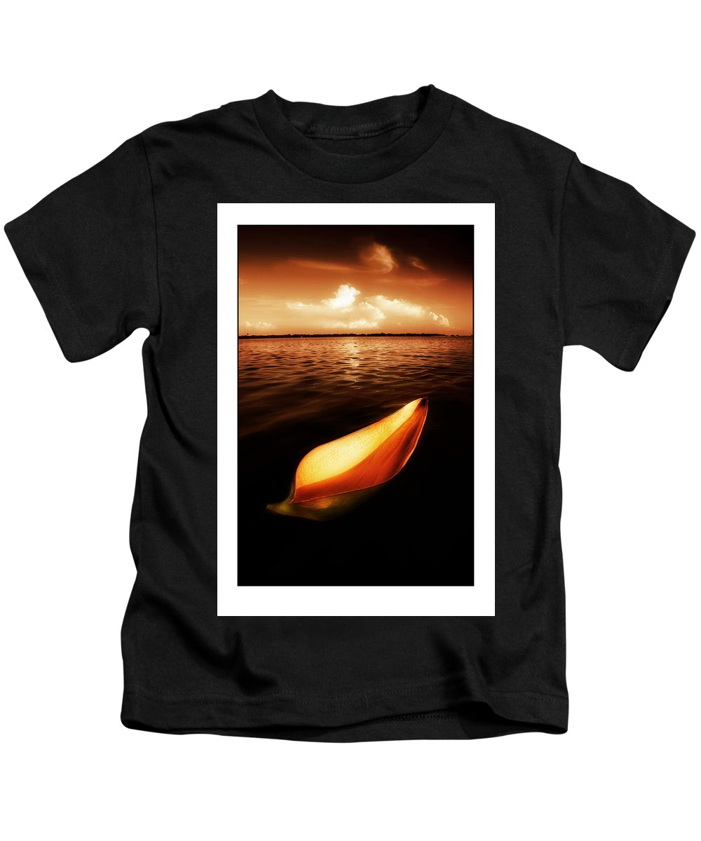 Palm Kids T-Shirt featuring the photograph Palm Leaf Sheath Boat by Mal Bray