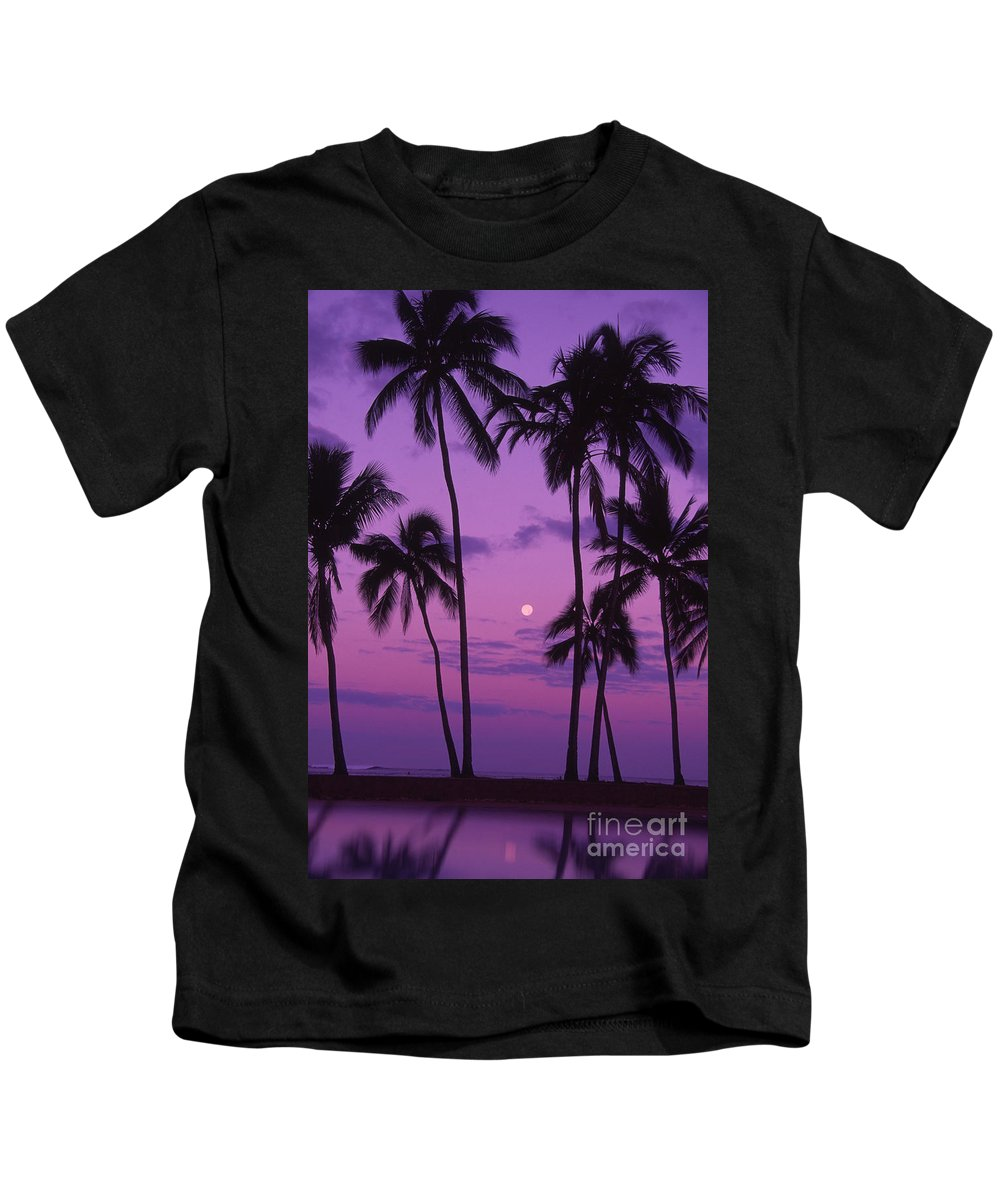 Bright Kids T-Shirt featuring the photograph Palm Tree And Moon by Ron Dahlquist - Printscapes
