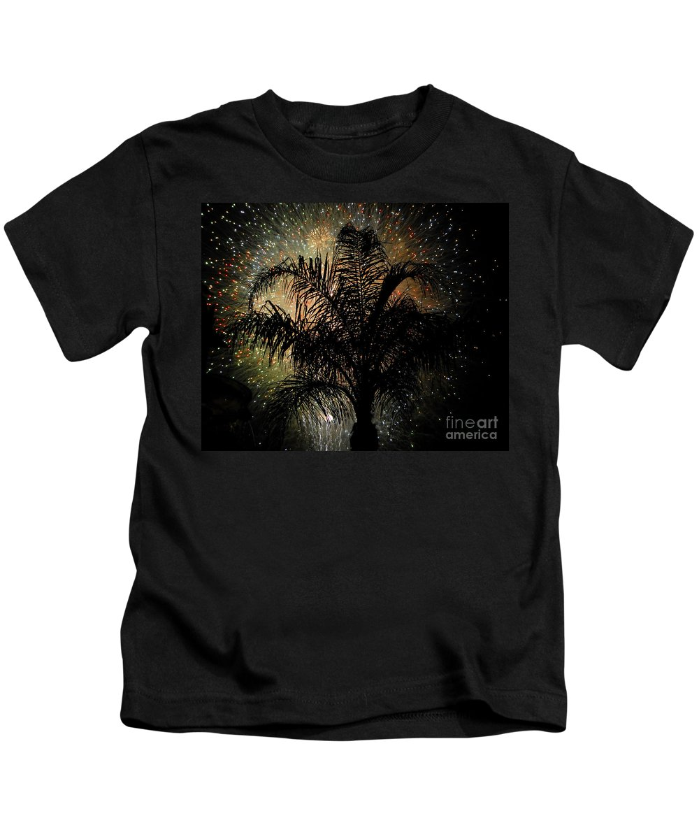 Fireworks Kids T-Shirt featuring the photograph Palm Tree Fireworks by David Lee Thompson