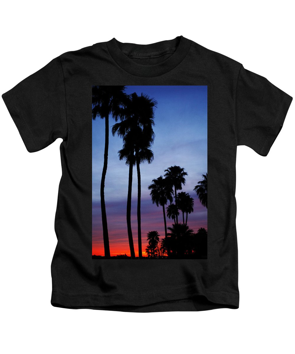 Palm Trees Kids T-Shirt featuring the photograph Palm Trees At Sunset by Jill Reger