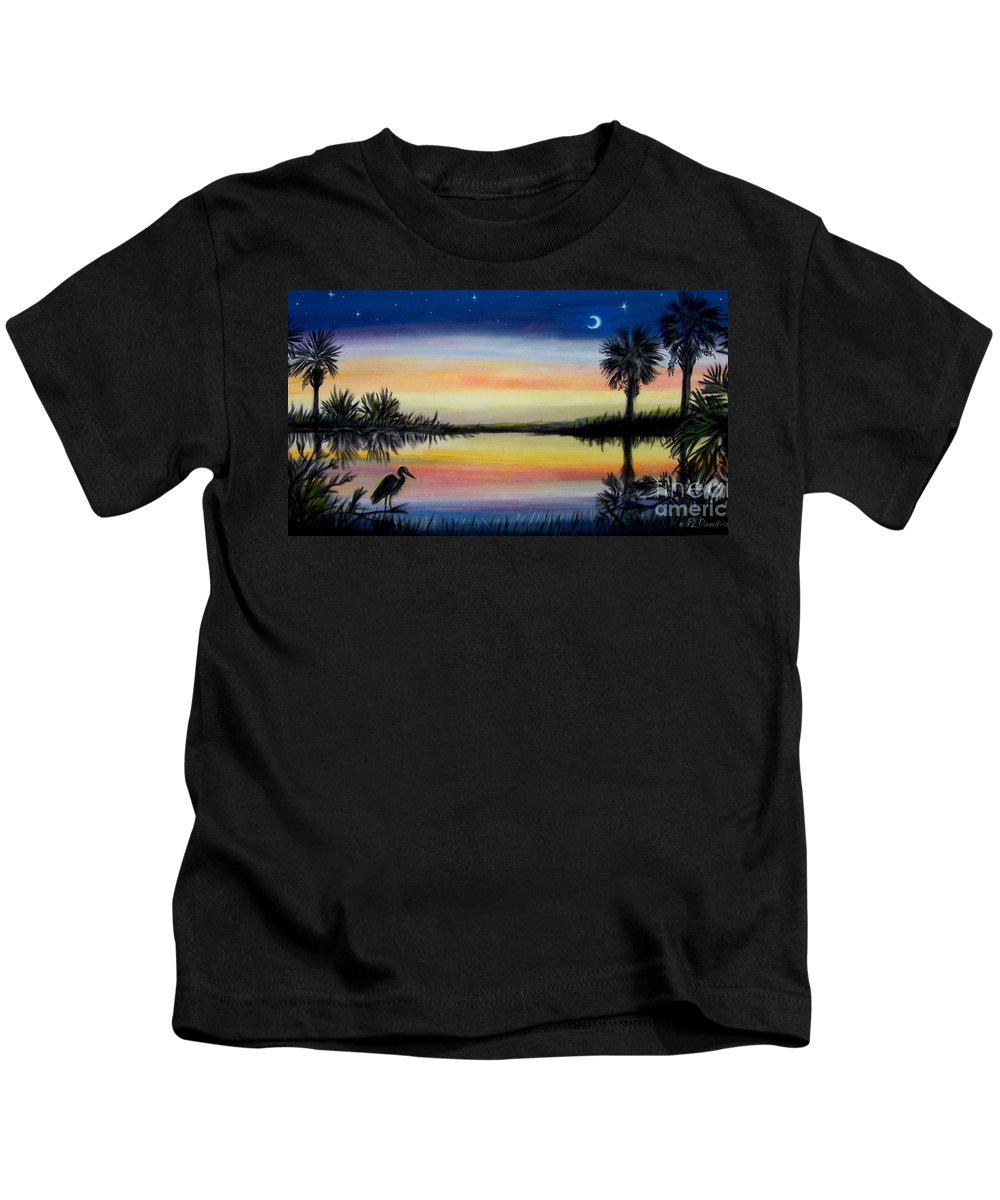 Palmetto Night Kids T-Shirt featuring the painting Palmetto Tree And Moon Low Country Sunset by Patricia L Davidson