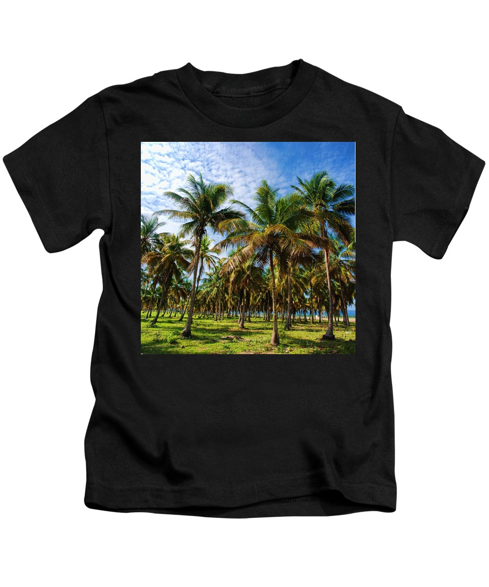 Palms Kids T-Shirt featuring the photograph Palms And Sky by Galeria Trompiz