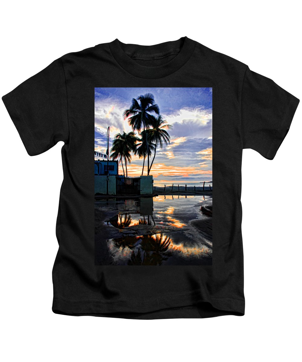 Palms Kids T-Shirt featuring the photograph Palms And Sunshine by Galeria Trompiz
