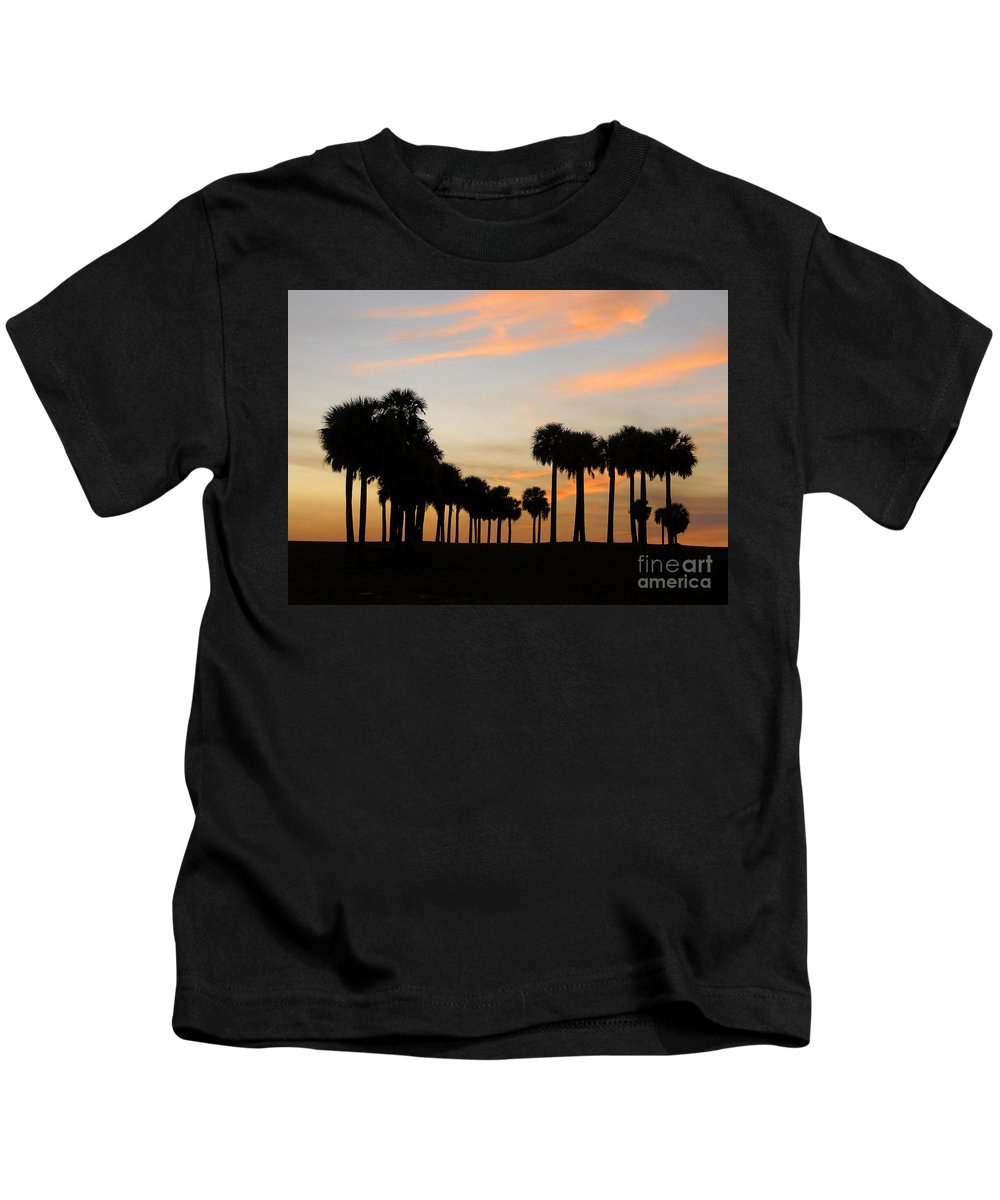 Palm Trees Kids T-Shirt featuring the photograph Palms At Sunset by David Lee Thompson