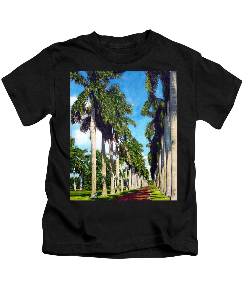 Palms Kids T-Shirt featuring the painting Palms by Jose Manuel Abraham