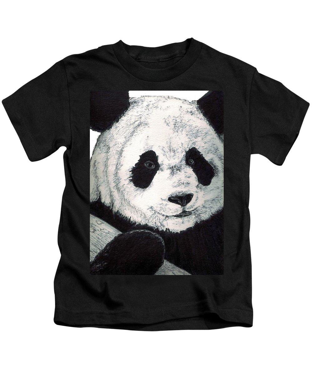 Panda Kids T-Shirt featuring the painting Panda by Debra Sandstrom