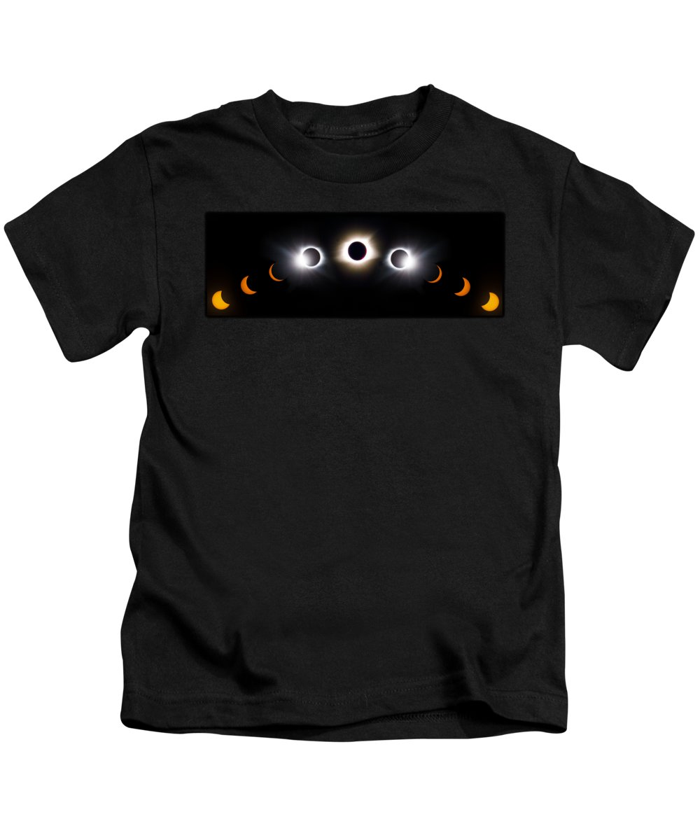 08 21 2017 Kids T-Shirt featuring the photograph Panorama Total Eclipse T Shirt Art Phases by Debra and Dave Vanderlaan