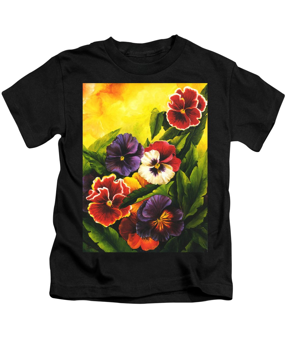 Flowers Kids T-Shirt featuring the painting Pansies Or Vuela Mis Pensamientos by Dominica Alcantara