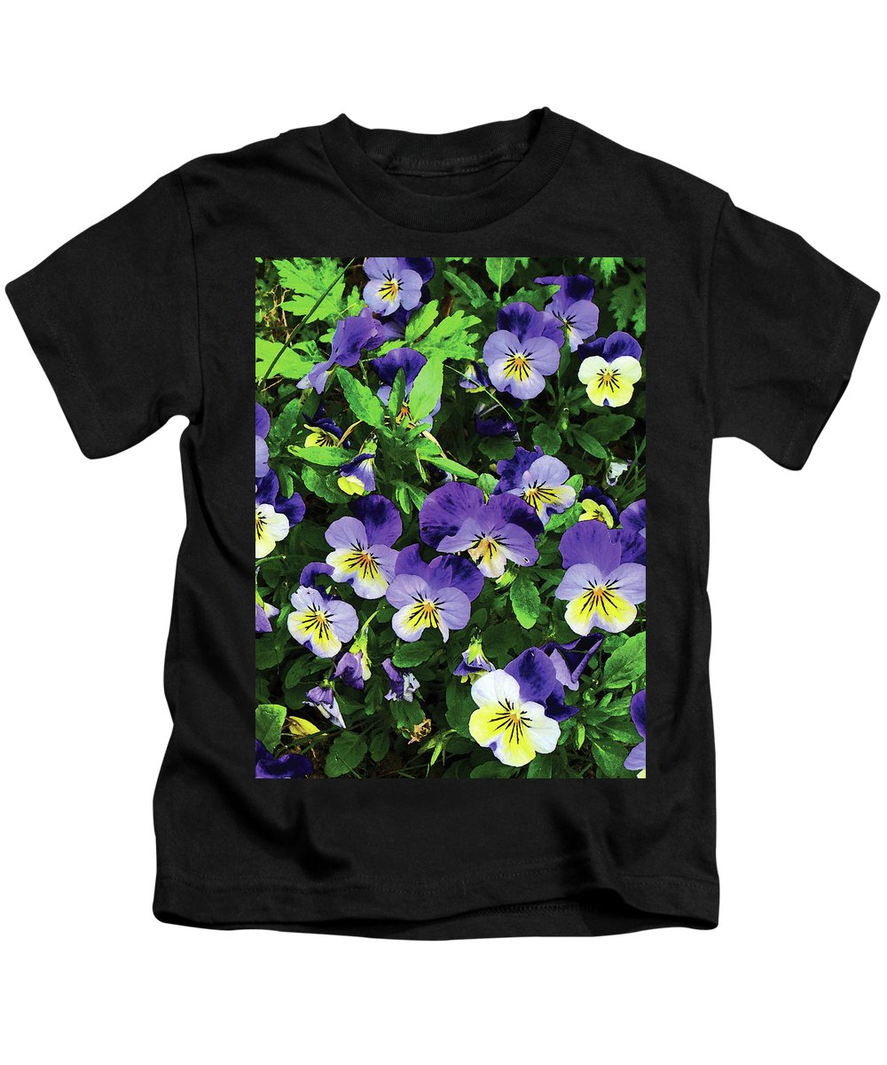 Pansy Kids T-Shirt featuring the photograph Pansies by Susan Savad