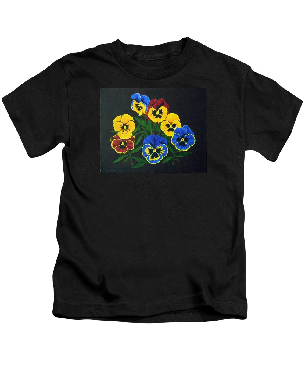 Pansies Kids T-Shirt featuring the painting Pansy Lions by Brandy House