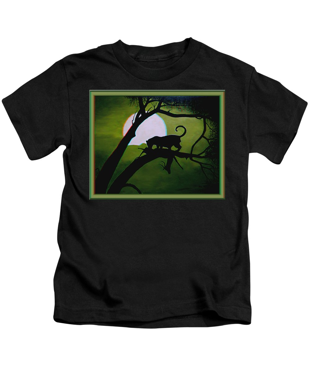 3d Kids T-Shirt featuring the photograph Panther Silhouette - Use Red-cyan 3d Glasses by Brian Wallace