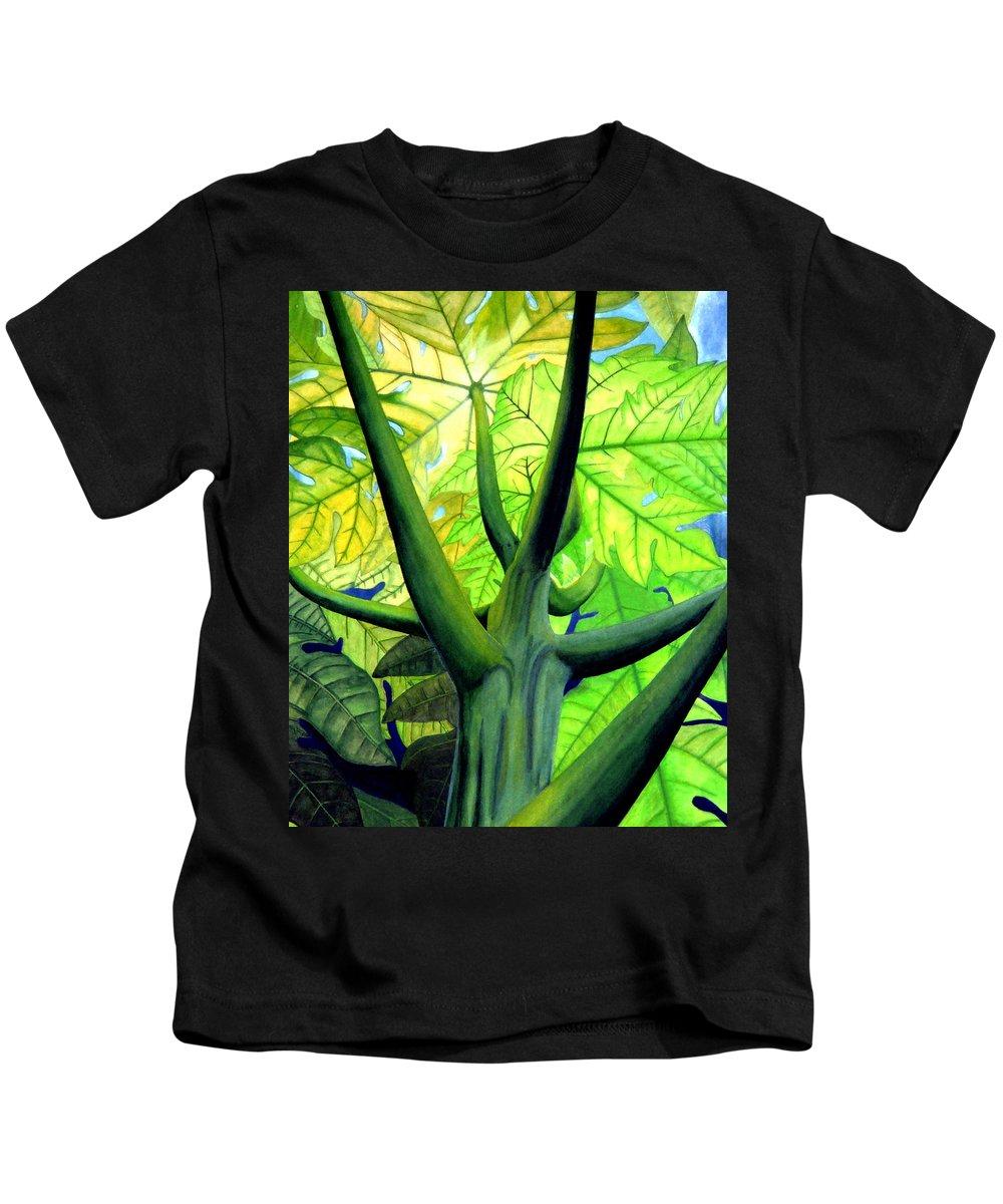 Papaya Tree Kids T-Shirt featuring the painting Papaya Tree by Kevin Smith