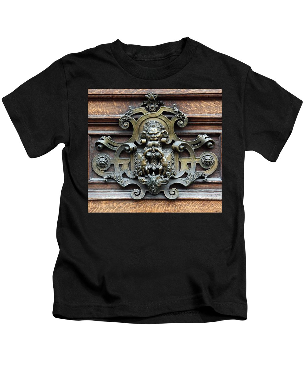 Greetings Kids T-Shirt featuring the photograph Paris - 19th Century Brass Door Knocker by Yvonne Wright