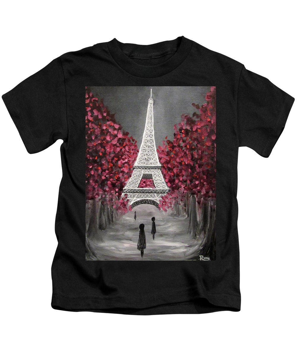 Eiffel Kids T-Shirt featuring the painting Crimson Trace by Runa Bakshi