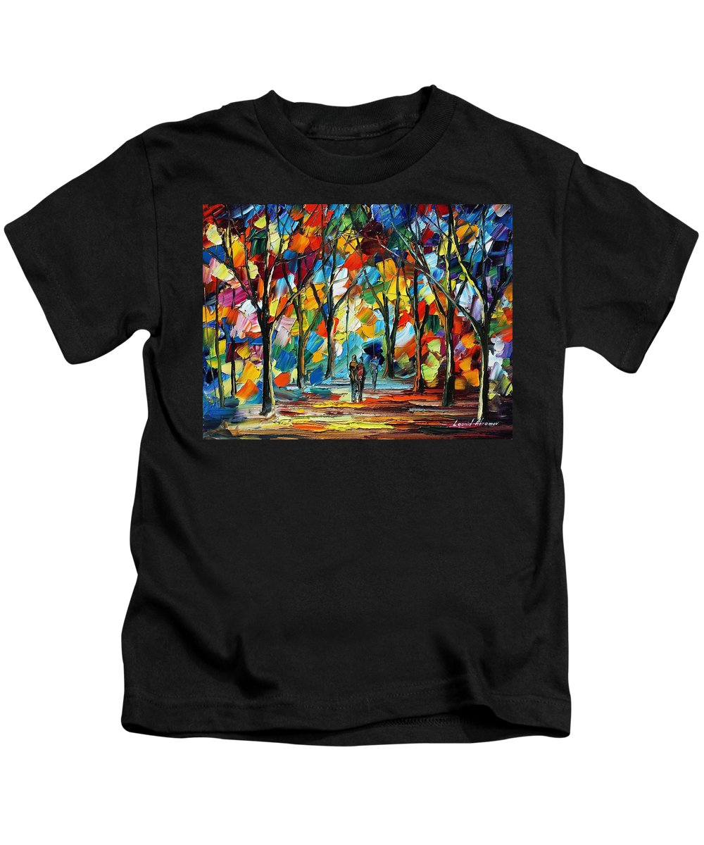 Afremov Kids T-Shirt featuring the painting Park Of Freedom by Leonid Afremov