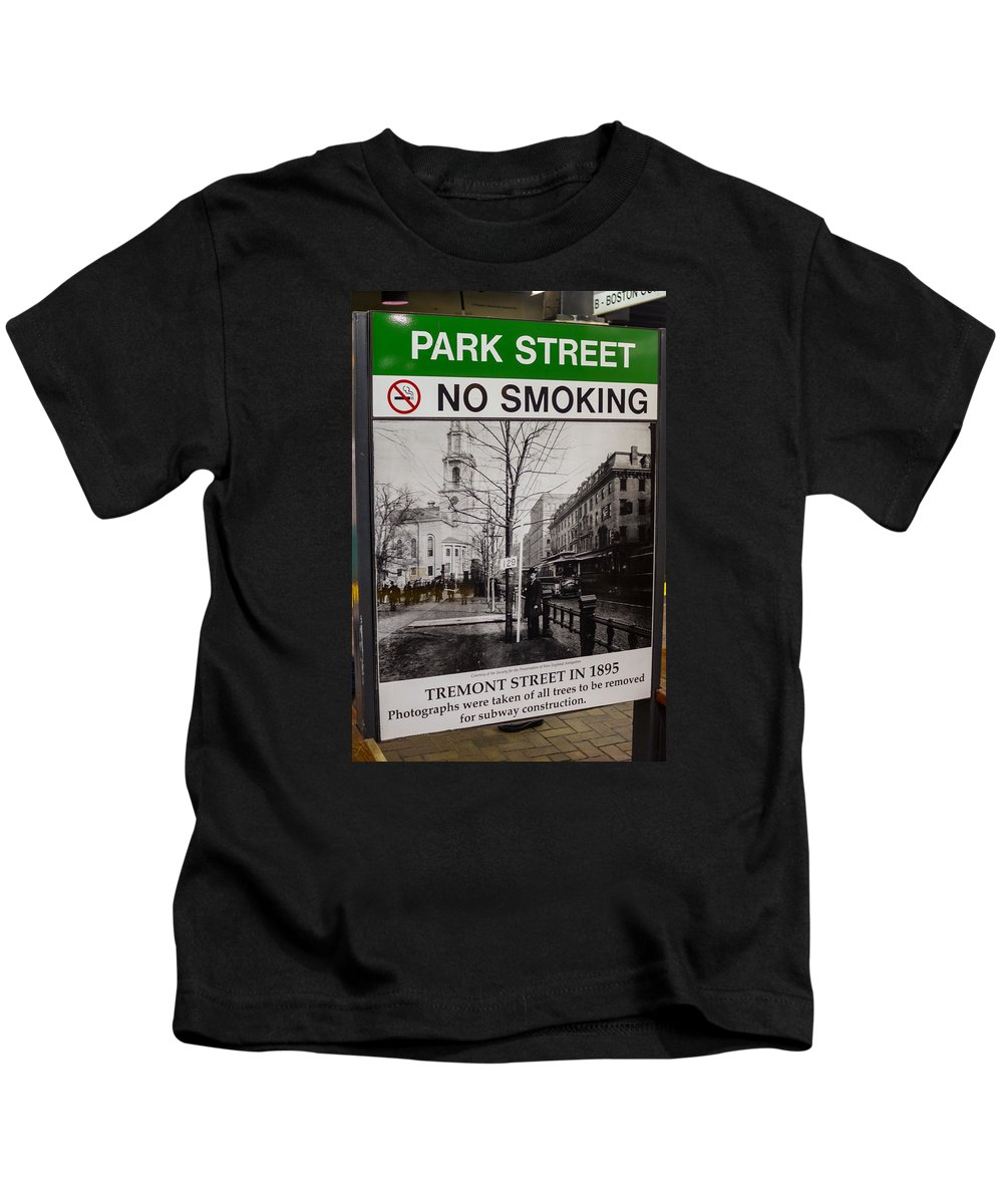 Boston Kids T-Shirt featuring the photograph Park Street Station Sign by Jeff Cutler