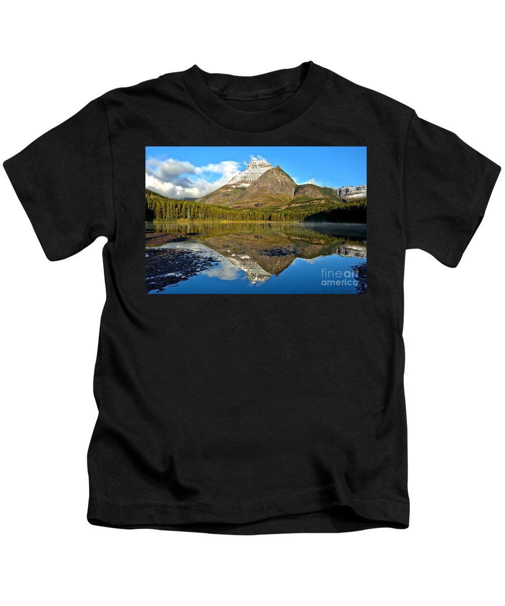 Fishercap Kids T-Shirt featuring the photograph Partly Cloudy Fishercap Reflections by Adam Jewell