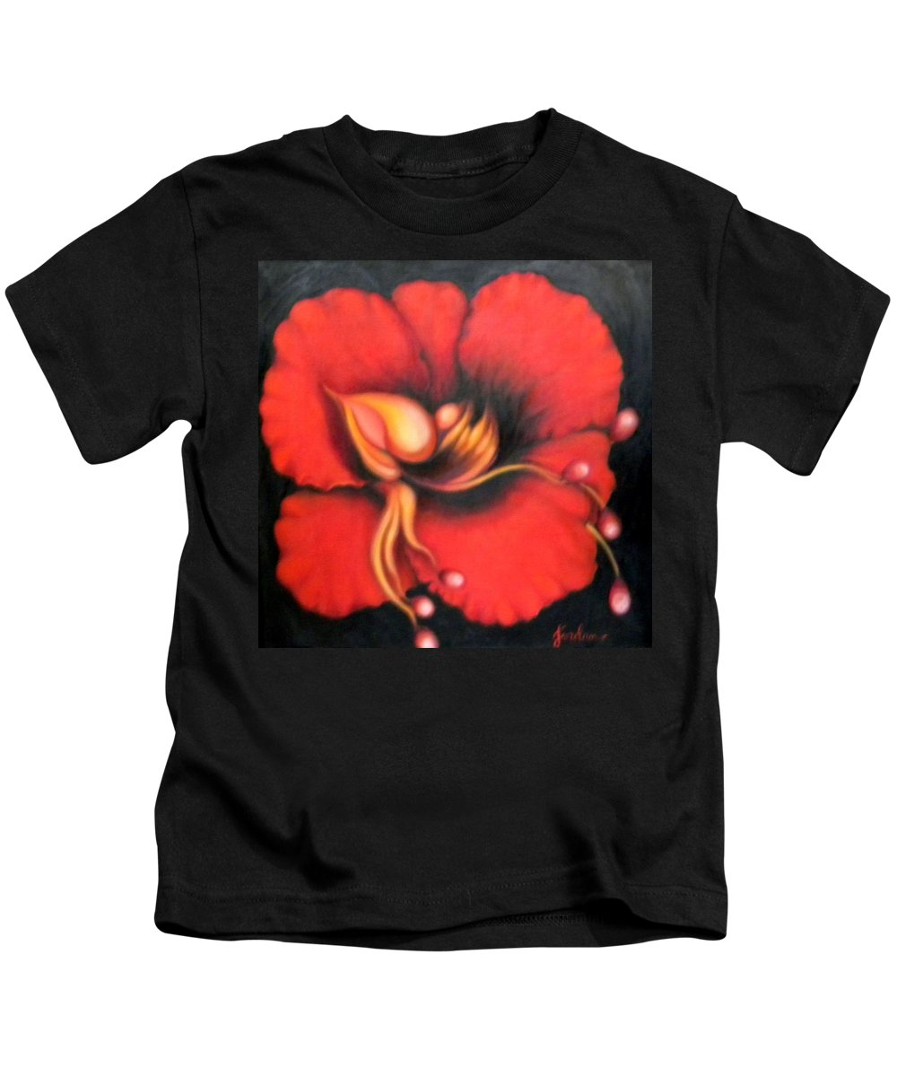 Red Surreal Bloom Artwork Kids T-Shirt featuring the painting Passion Flower by Jordana Sands