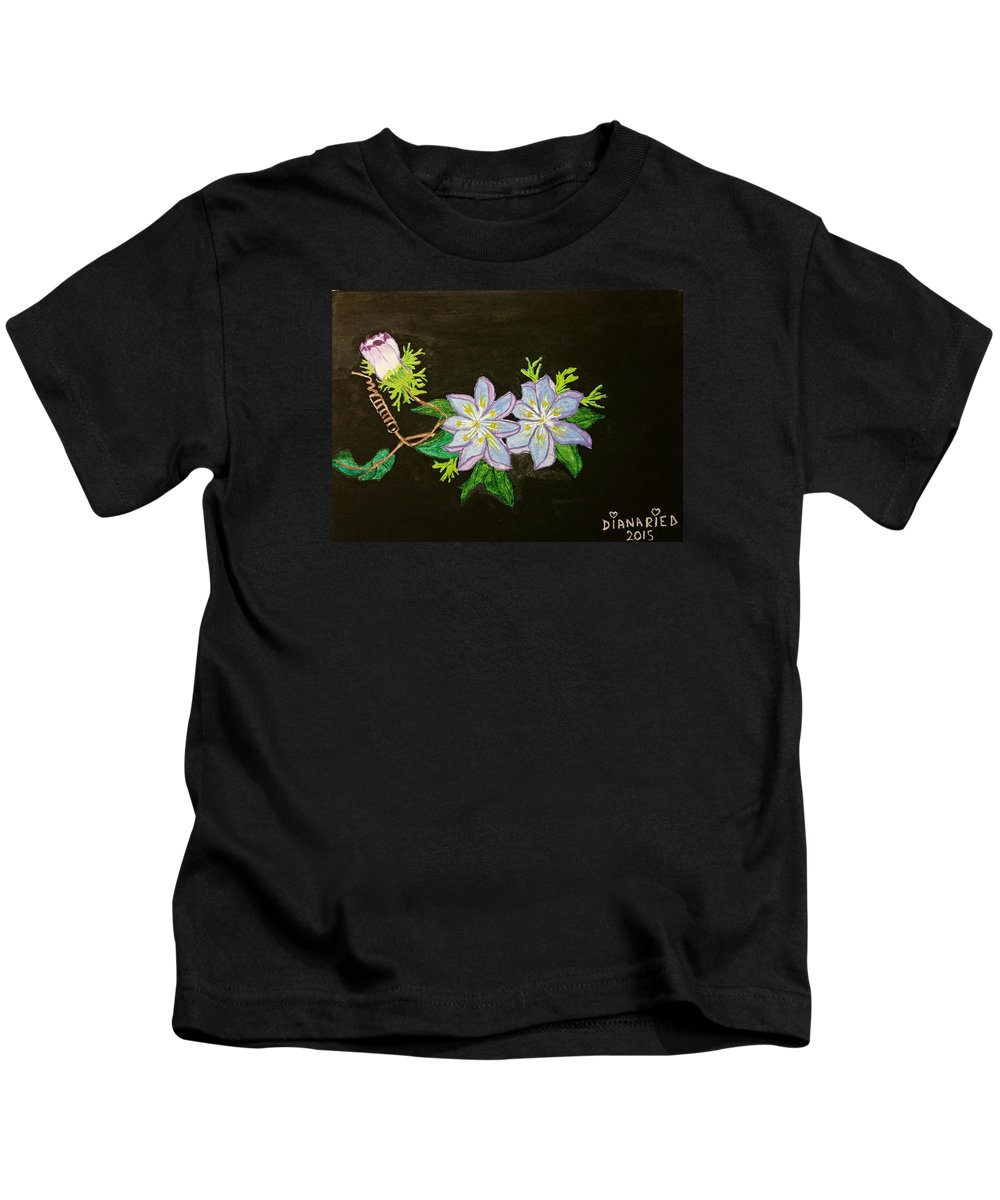 Still Life Kids T-Shirt featuring the painting Passion Flowers by Diana Riedling