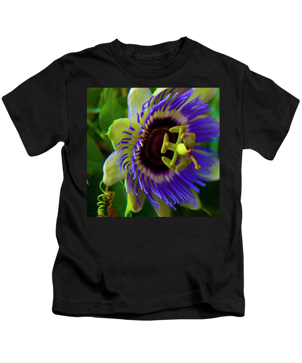 Flower Kids T-Shirt featuring the photograph Passion-fruit Flower by Betsy Knapp