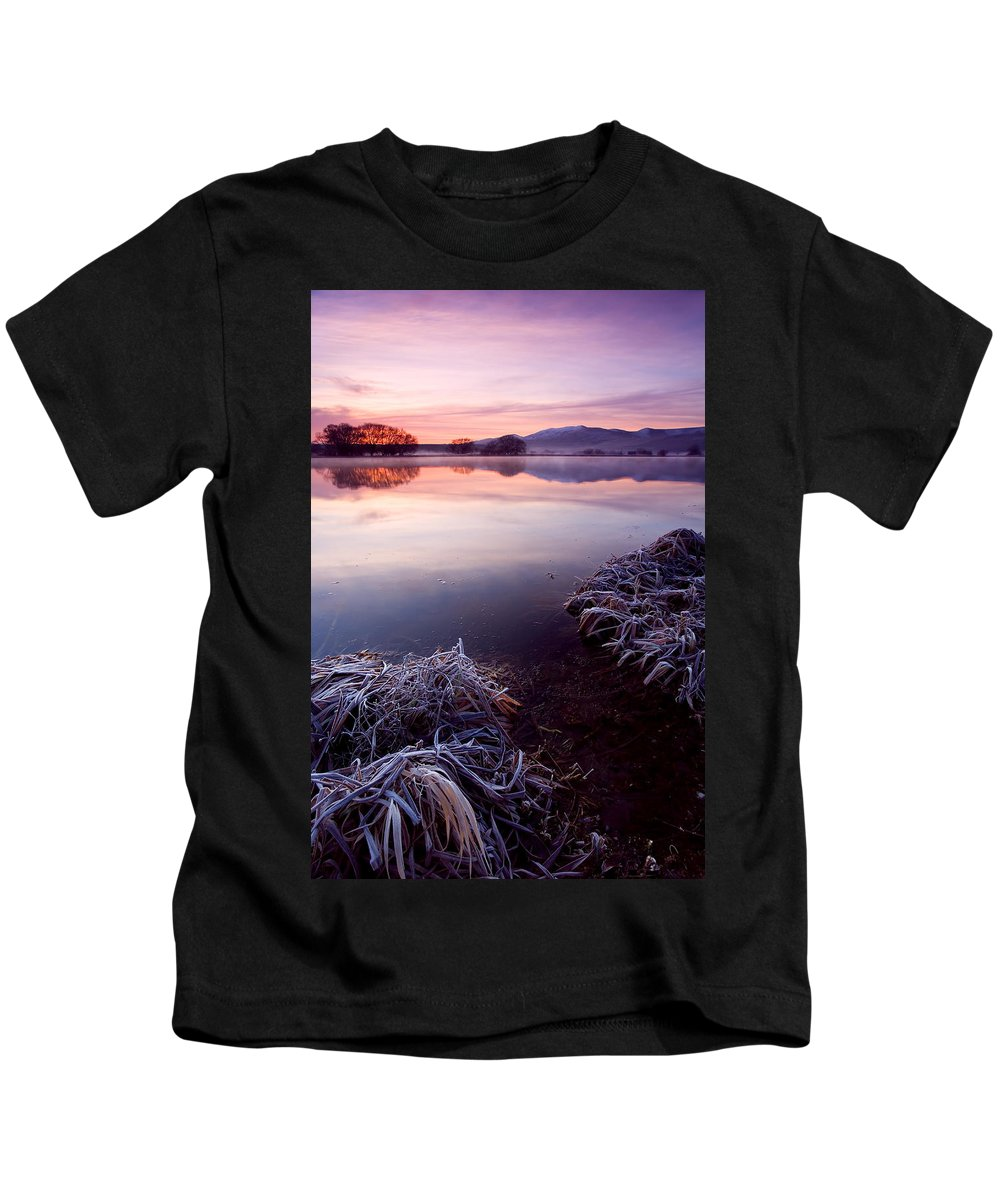 Lake Kids T-Shirt featuring the photograph Pastel Dawn by Mike Dawson