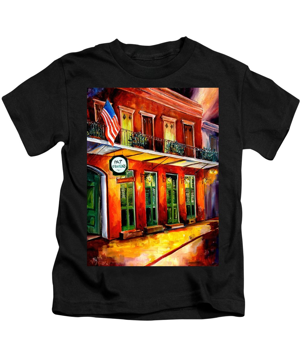 New Orleans Paintings Kids T-Shirt featuring the painting Pat O Briens Bar by Diane Millsap
