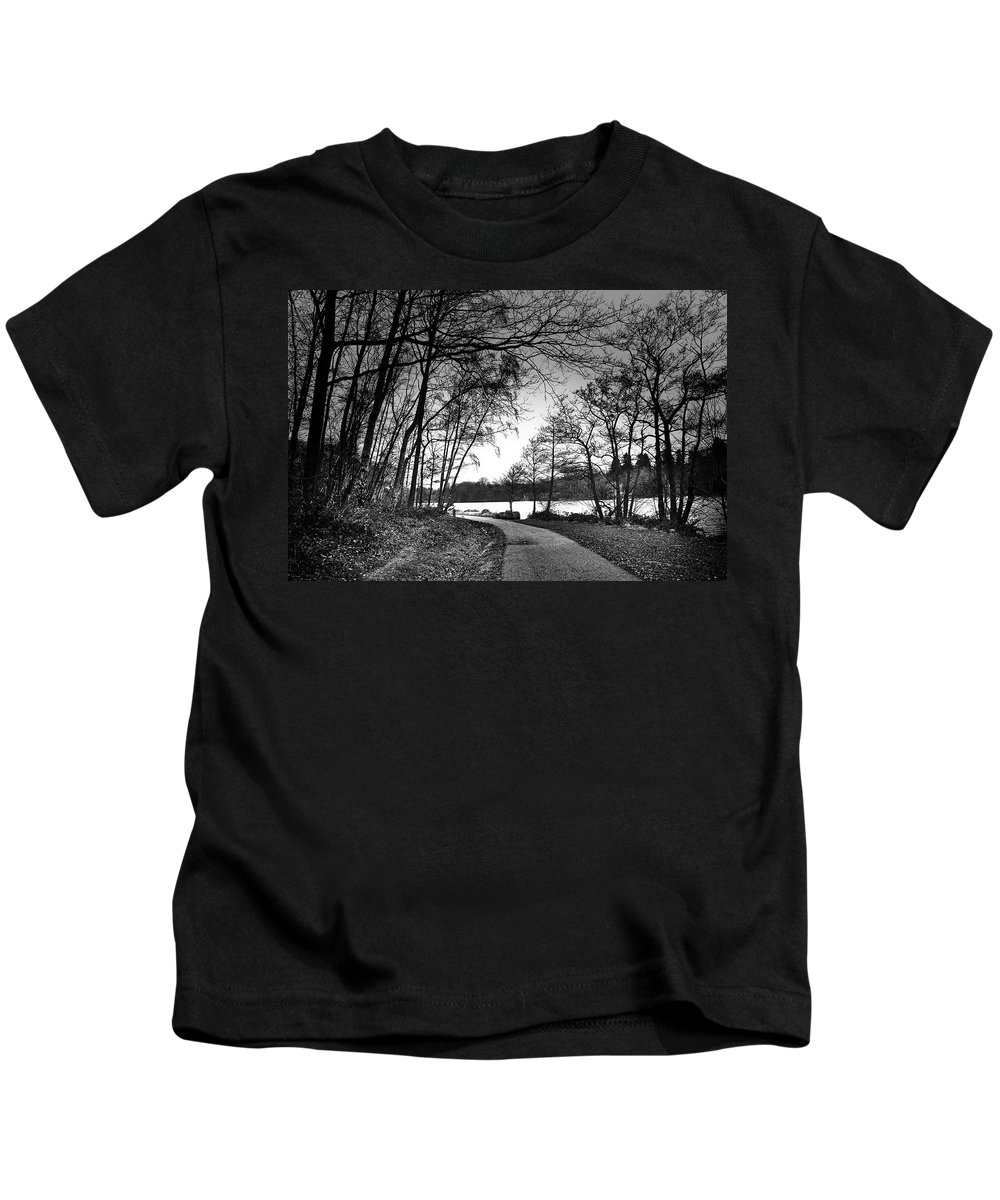 Virginia Water Kids T-Shirt featuring the photograph Path In The Park by David Resnikoff