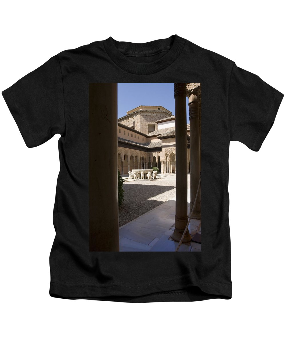 Patio Kids T-Shirt featuring the photograph Patio De Los Leones Nasrid Palaces Alhambra Granada by Mal Bray