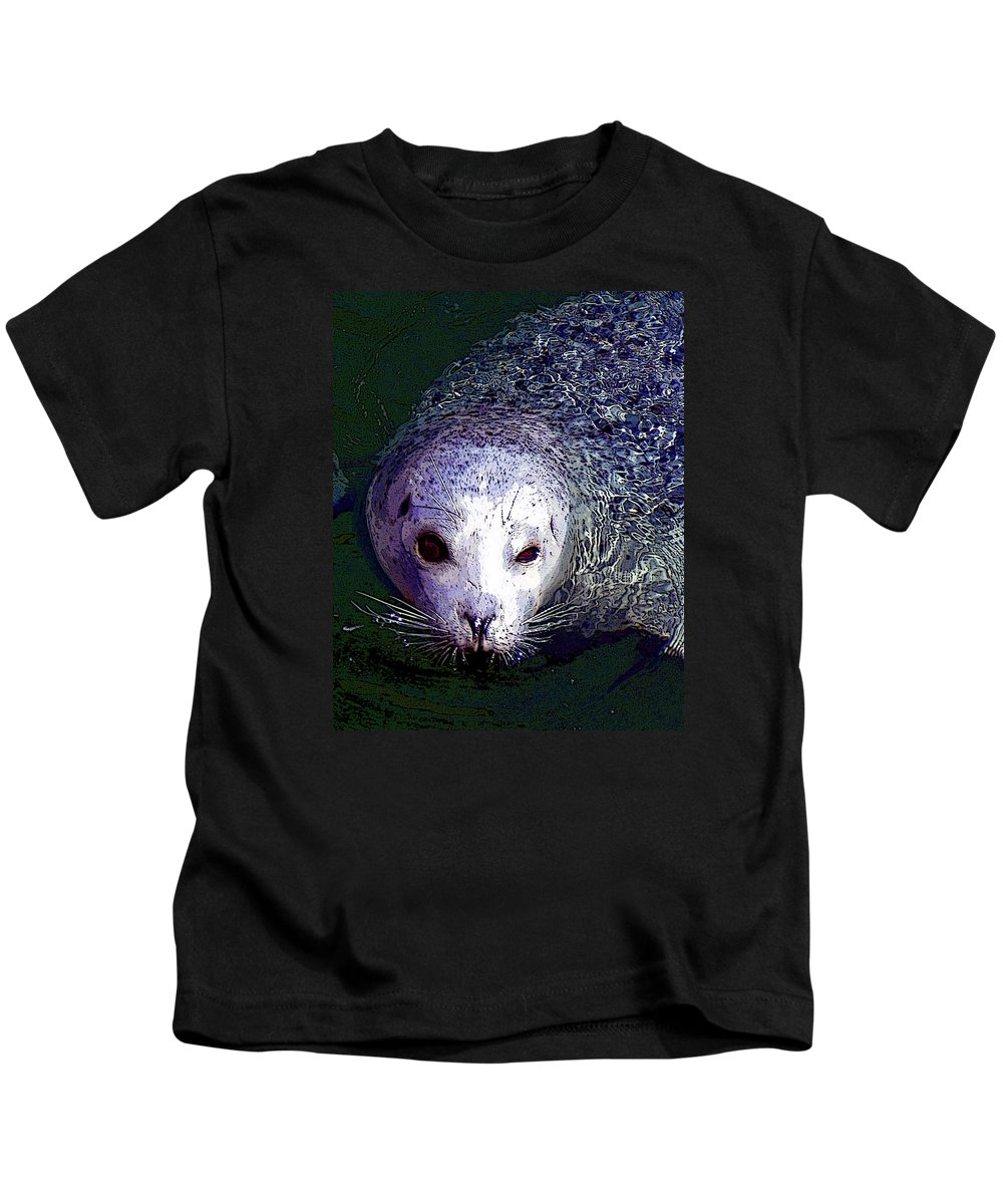 Head Kids T-Shirt featuring the photograph Patterned Seal by Michele Broadfoot