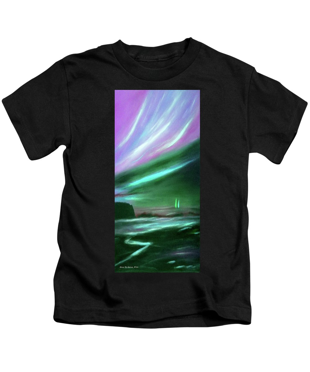 Sunset Kids T-Shirt featuring the painting Peace Is Colorful 2 - Vertical Painting by Gina De Gorna