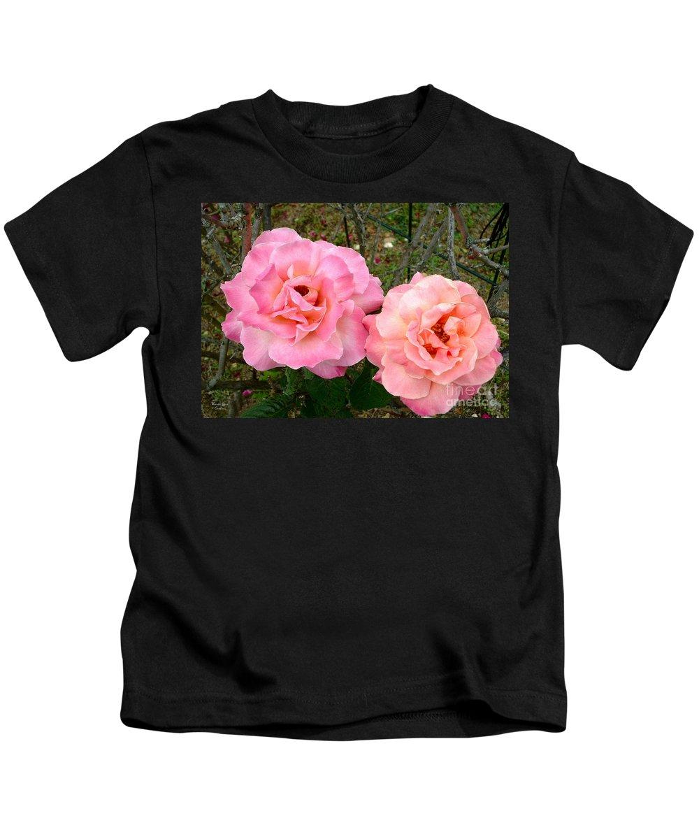 Peace Roses Kids T-Shirt featuring the photograph Peace Roses by Wanda-Lynn Searles