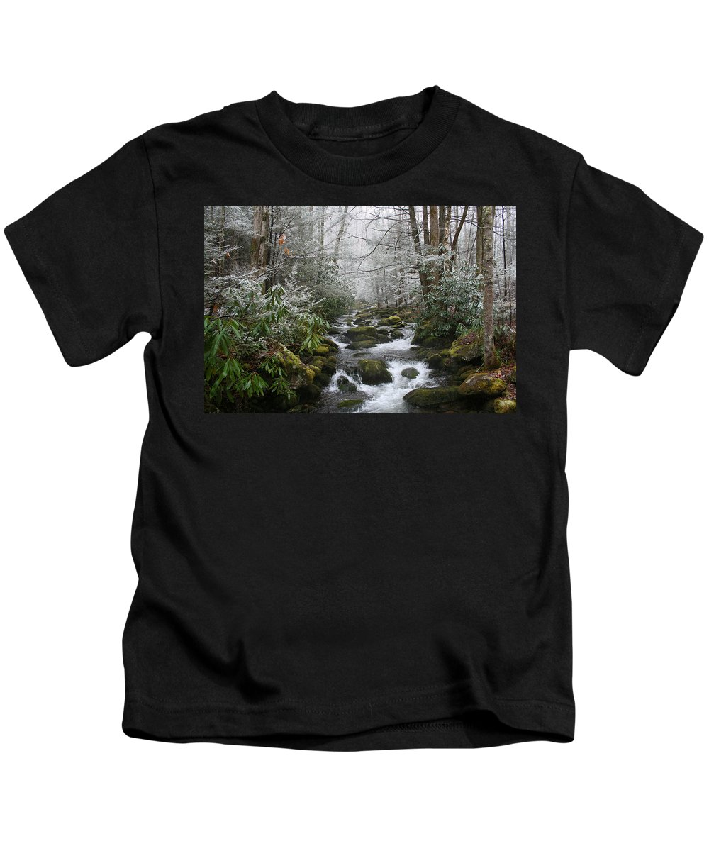 Forest Wood Woods Nature Green White Snow Winter Season Creek River Stream Flow Rock Tree Rush Kids T-Shirt featuring the photograph Peaceful Flow by Andrei Shliakhau