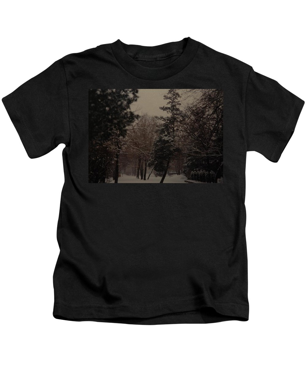 Lights Kids T-Shirt featuring the photograph Peaceful Snow Dusk by Rob Hans