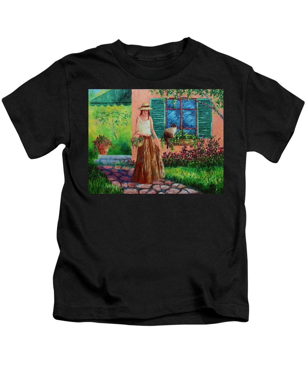 Woman Kids T-Shirt featuring the painting Peaceful Thoughts by David G Paul
