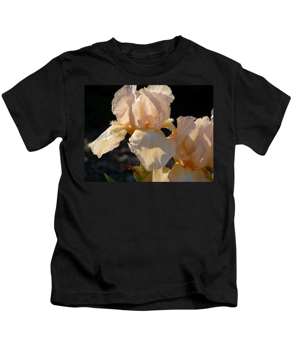 Flower. Iris Kids T-Shirt featuring the photograph Peach Bearded Iris by Ruth Kamenev