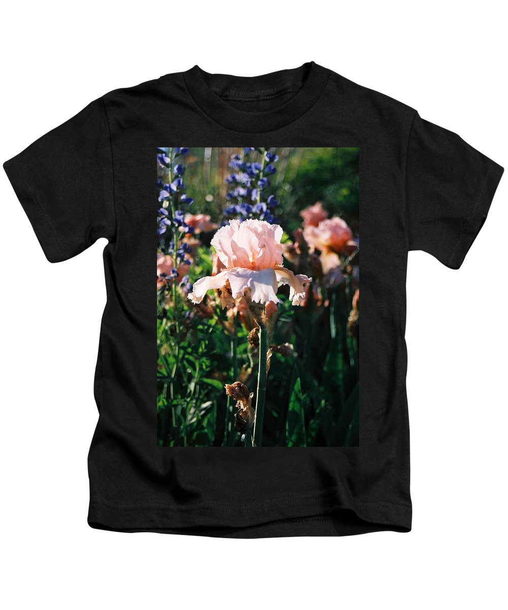 Flower Kids T-Shirt featuring the photograph Peach Iris by Steve Karol