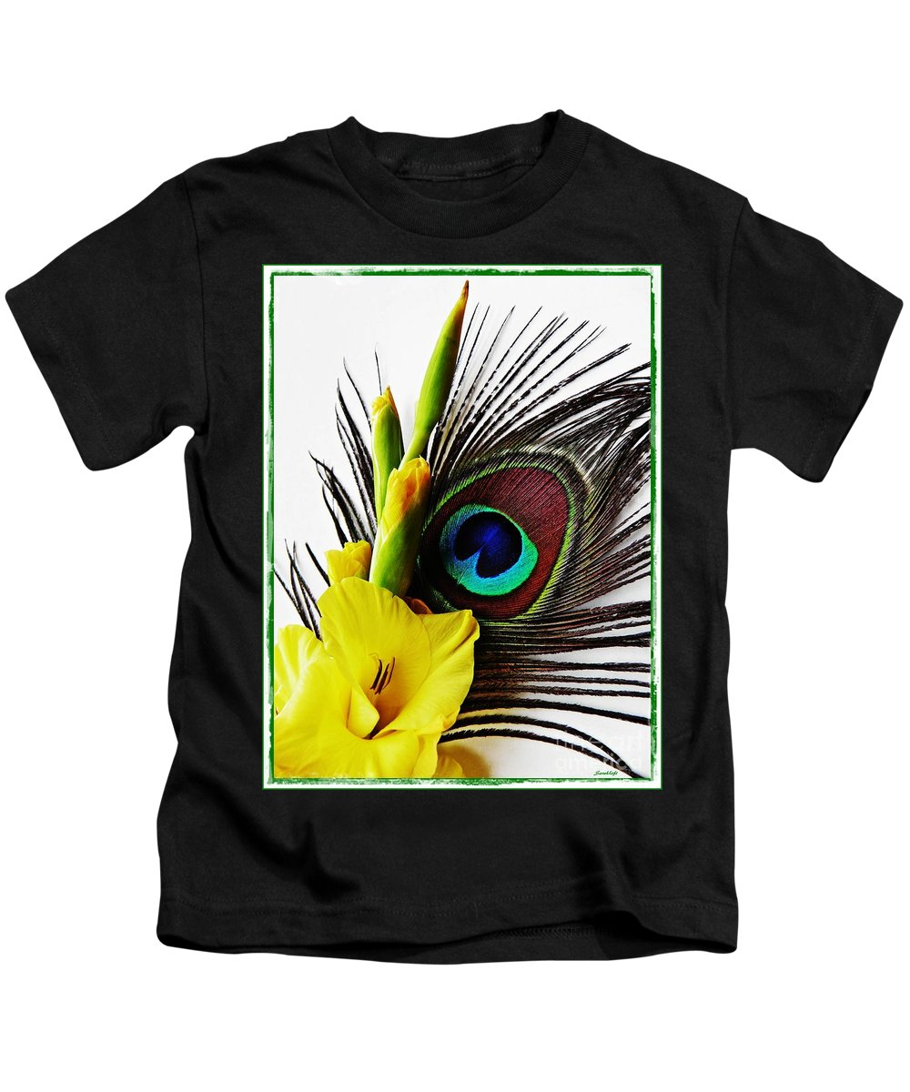 Gladiolus Kids T-Shirt featuring the photograph Peacock Feather And Gladiola 3 by Sarah Loft