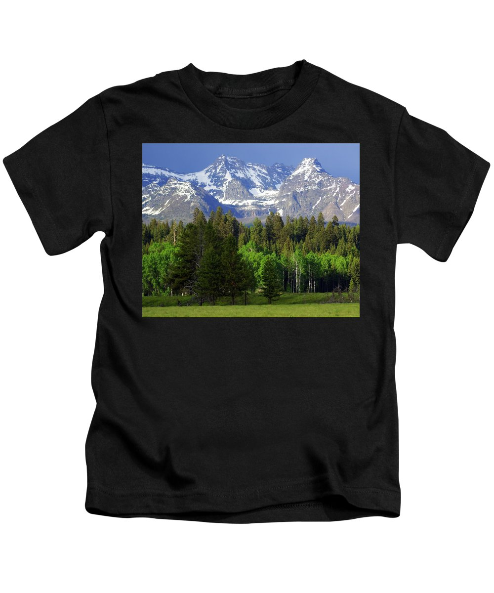 Mountains Kids T-Shirt featuring the photograph Peaks by Marty Koch