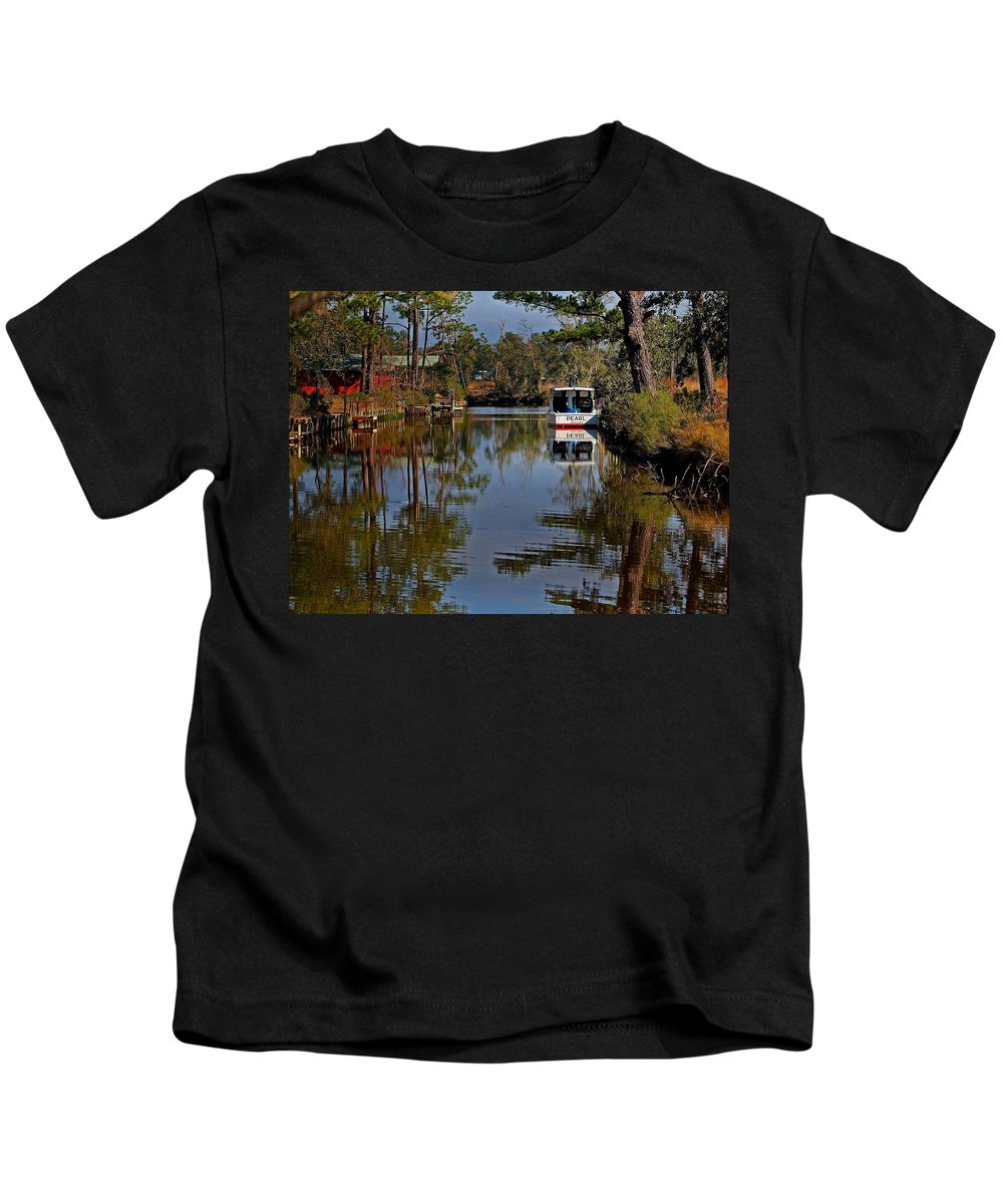 Shrimp Boat Kids T-Shirt featuring the painting Pearl by Michael Thomas