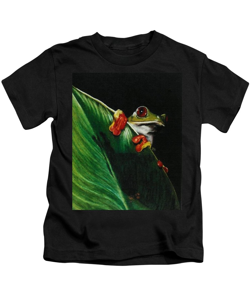 Frog Kids T-Shirt featuring the drawing Peek-a-boo by Barbara Keith